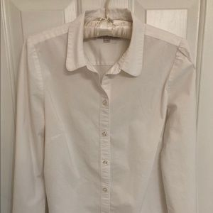 Loft Long Sleeve Blouse-White-Size Medium